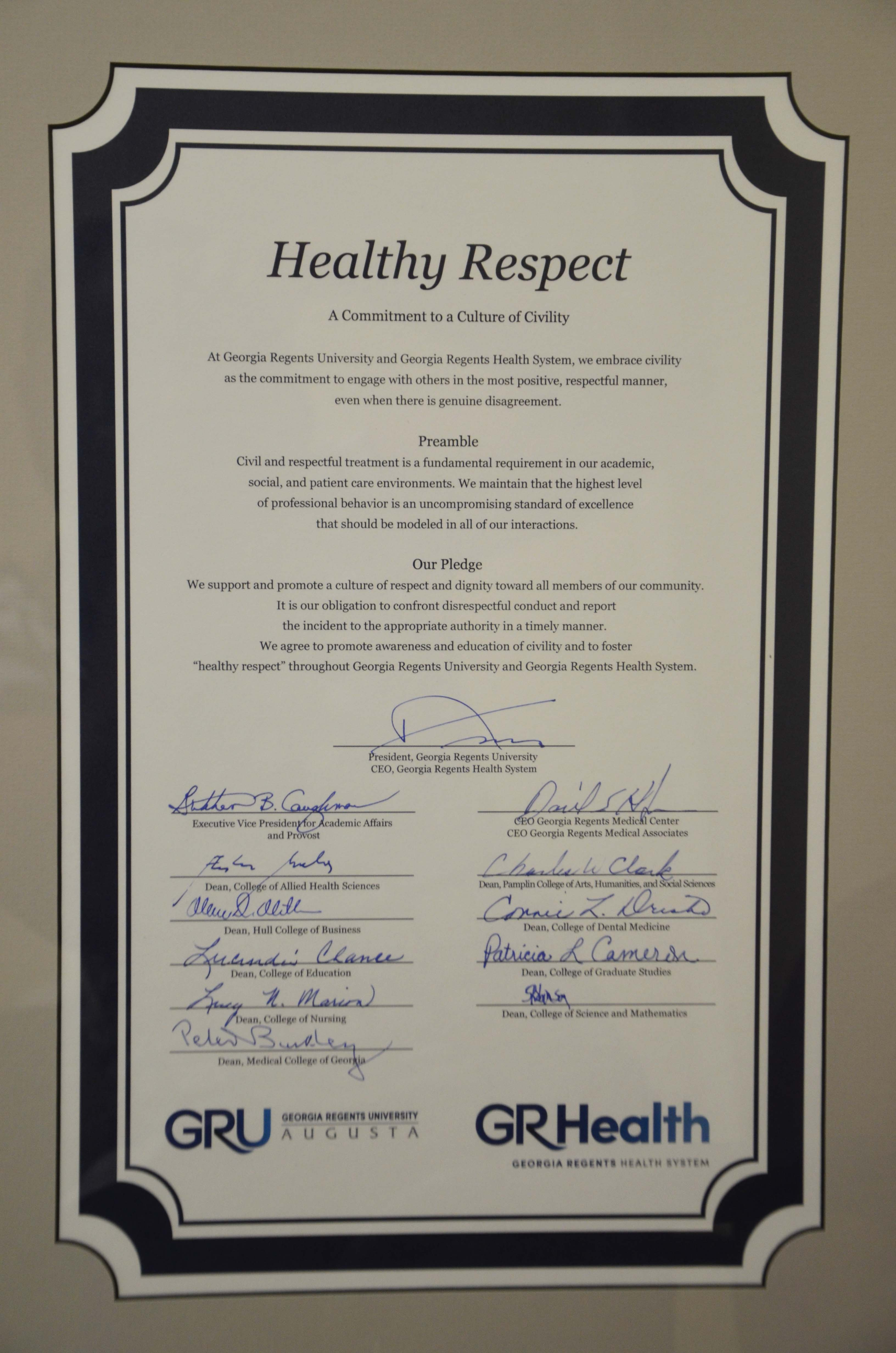 Healthy Respect charter