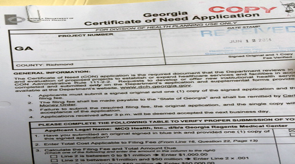 Copy of certificate of need application