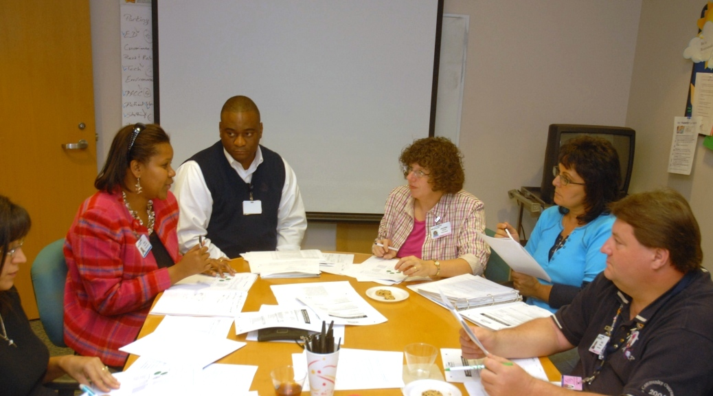 Patient Advisory Council and hospital staff discuss opportunities to improve Patient-and Family-Centered Care.