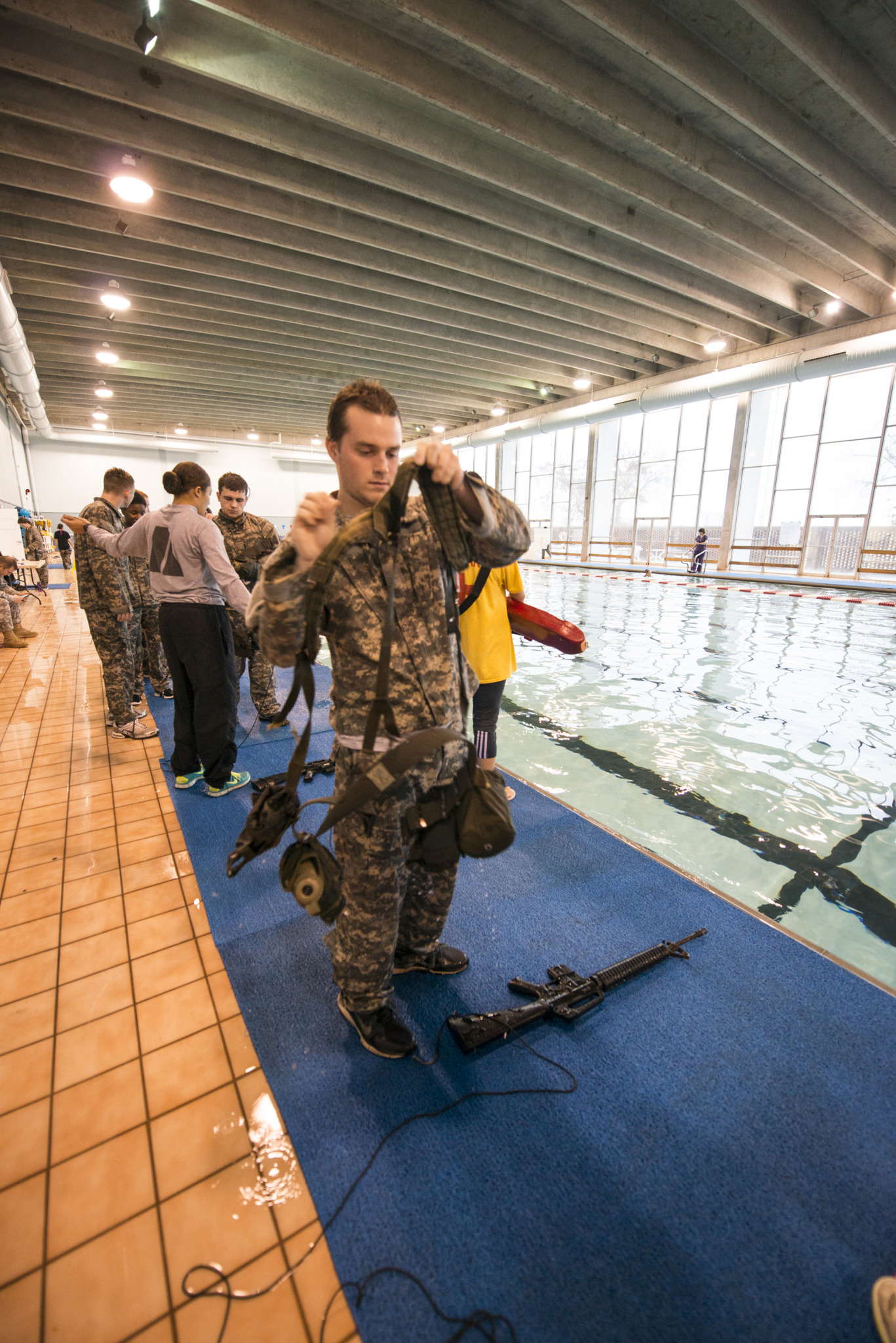 ROTC students participate in combat water survival training