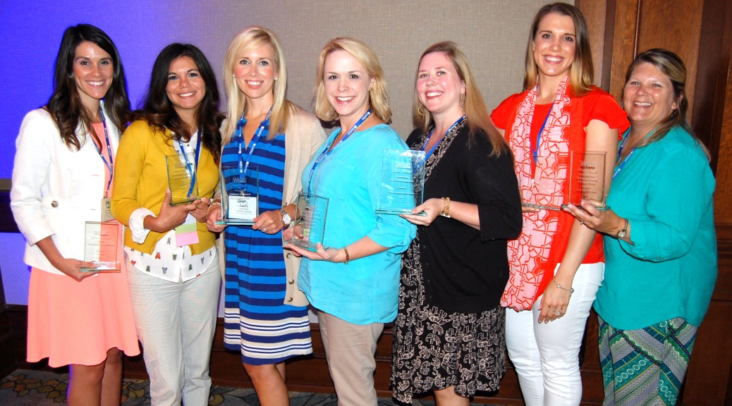 Georgia Regents University's Division of Communications and Marketing earned 7 Target Awards from the Georgia Society for Healthcare Marketing and Public Relations at the 20th Anniversary Target Awards Luncheon on June 30 at Lake Oconee. Those recognized for their accomplishments included (left to right) Aubrey Hinkson, Clarissa Chavez, Emily Renzi, Brianne Clark, Cathleen Caldwell, Anna Aligood, and Denise Parrish.